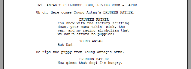 Screenplay formatting