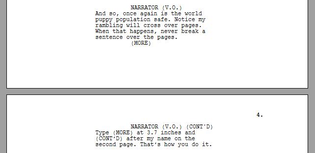 Screenplay formatting